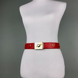 Escada Red Leather Gold Heart Crystal Belt Size M